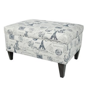 MJL Furniture Brooklyn Upholstered French Square Legged Box Storage Ottoman