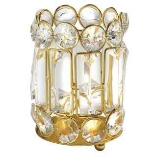 Elegance 5.25-inch Crystal and Gold Candle Holder