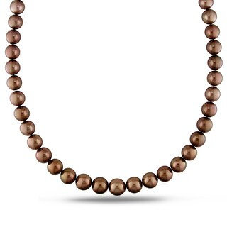 Miadora Signature Collection 14k Yellow Gold Tahitian Brown Pearl Strand Necklace (10.5-13 mm)