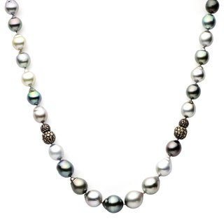 Baroque Multi Tahitian Pearl Champagne Diamond-cut Pave Ball Necklace (11-14 mm)