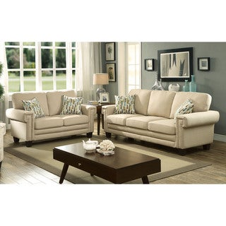 Furniture of America Evassen Contemporary 2-piece Linen-like Sofa Set