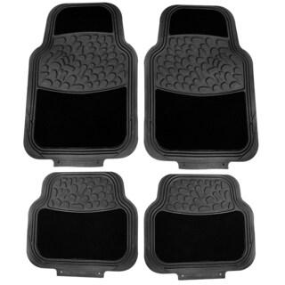 4pc Black Rubber with Capret Car Mat