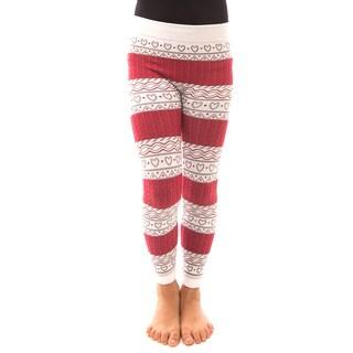 Soho Kids Girls' Red/White Heart Winter Fleece Leggings