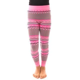 Soho Kids Girls' Pink Heart Winter Fleece Leggings