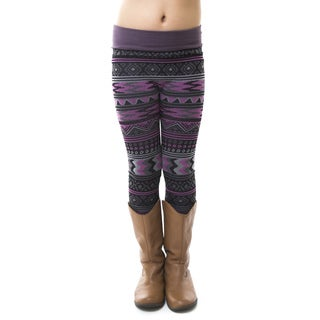 Soho Kids Girls' Black/White Aztec Winter Fleece Leggings