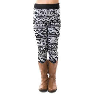 Soho Kids Big Girls' Black/White Aztec Winter Fleece Leggings