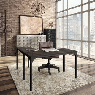 Amisco Carnegie Metal and Solid Distressed Birch Wood Home Office Table