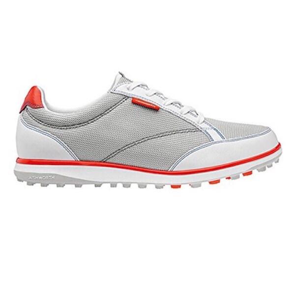 Ashworth Women's Cardiff ADC Mesh Pebble/White/Dark Orange Golf Shoes