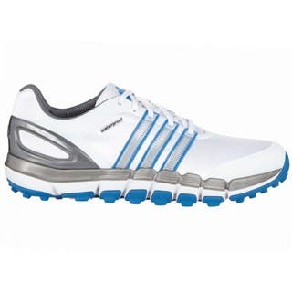 Adidas Men's Pure 360 Gripmore Sport White/ Silver Metallic/ Bahia Blue Golf Shoes|https://ak1.ostkcdn.com/images/products/11176867/P18170225.jpg?impolicy=medium