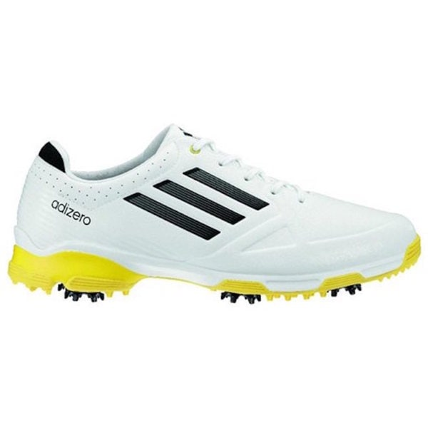 detailed look b331b 7a860 Shop Adidas Men s Adizero 6-Spike White  Black  Yellow Golf Shoes - Free  Shipping Today - Overstock - 11176872