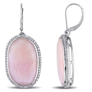 Miadora Signature Collection 14k White Gold Pink Opal and 1/2ct TDW Diamond Dangle Earrings
