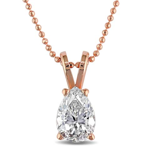 Miadora Signature Collection 14k Rose Gold 3/4ct TDW Pear-cut Diamond Solitaire Necklace