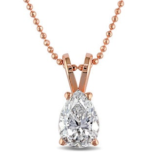 Miadora Signature Collection 14k Rose Gold 3/4ct TDW Pear-cut Diamond Solitaire Necklace (G-H, I1-I2)