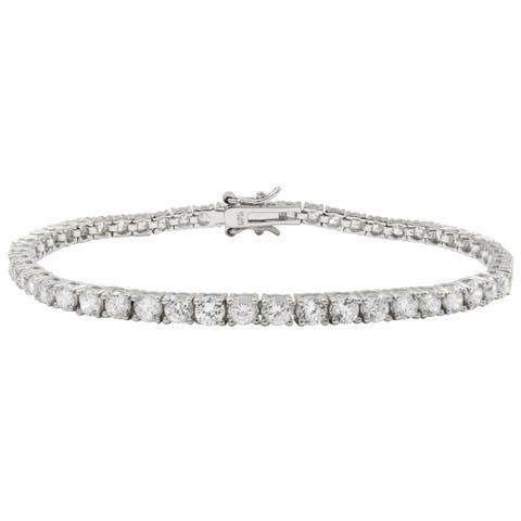 Luxiro Sterling Silver 3-mm Round Cubic Zirconia Tennis Bracelet