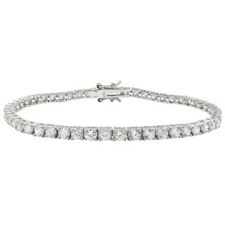 Luxiro Sterling Silver 3-mm Round Cubic Zirconia Tennis Bracelet