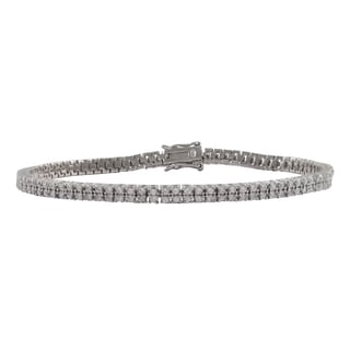 Luxiro Sterling Silver 1.5-mm Round Cubic Zirconia Two-row Tennis Bracelet