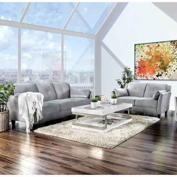 Furniture of America Pierson Contemporary 2-piece Flannelette Sofa Set
