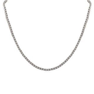 Luxiro Sterling Silver White Cubic Zirconia 4-mm Tennis Necklace
