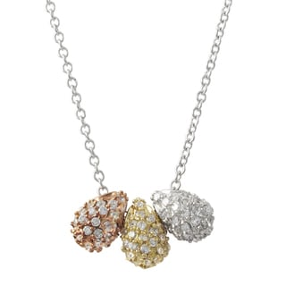 Luxiro Tri-color Gold Finish Pave Cubic Zirconia Teardrop Pendant Necklace