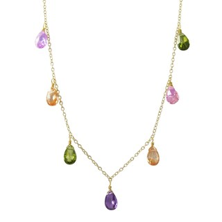 Luxiro Gold Finish Multi-color Cubic Zirconia Station Necklace - Pink