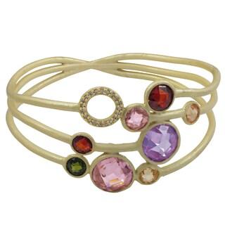 Luxiro Matte Gold Finish Multi-color Cubic Zirconia 3-row Bangle Bracelet - Pink