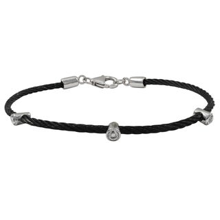Luxiro Two-tone Black and Rhodium Finish Cubic Zirconia Bangle Bracelet