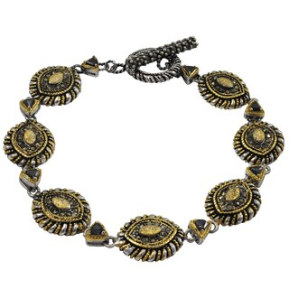 Luxiro Two-tone Gold and Rhodium Finish Black Cubic Zirconia Marquise Bracelet (Option: Two Tone)