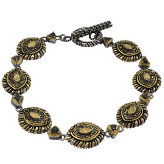 Luxiro Two-tone Gold and Rhodium Finish Black Cubic Zirconia Marquise Bracelet