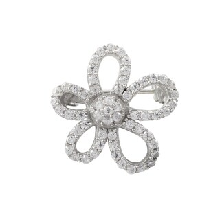 Luxiro Sterling Silver Cubic Zirconia Flower Pin Brooch