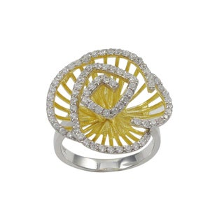 Luxiro Two-tone Gold Finish Sterling Silver Cubic Zirconia Flower Statement Ring - Yellow