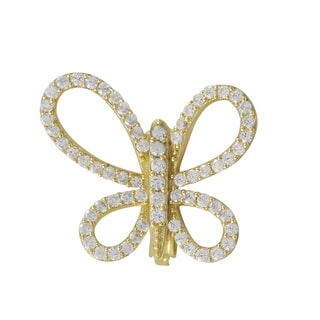 Gold Finish Sterling Silver Cubic Zirconia Butterfly Pin Brooch