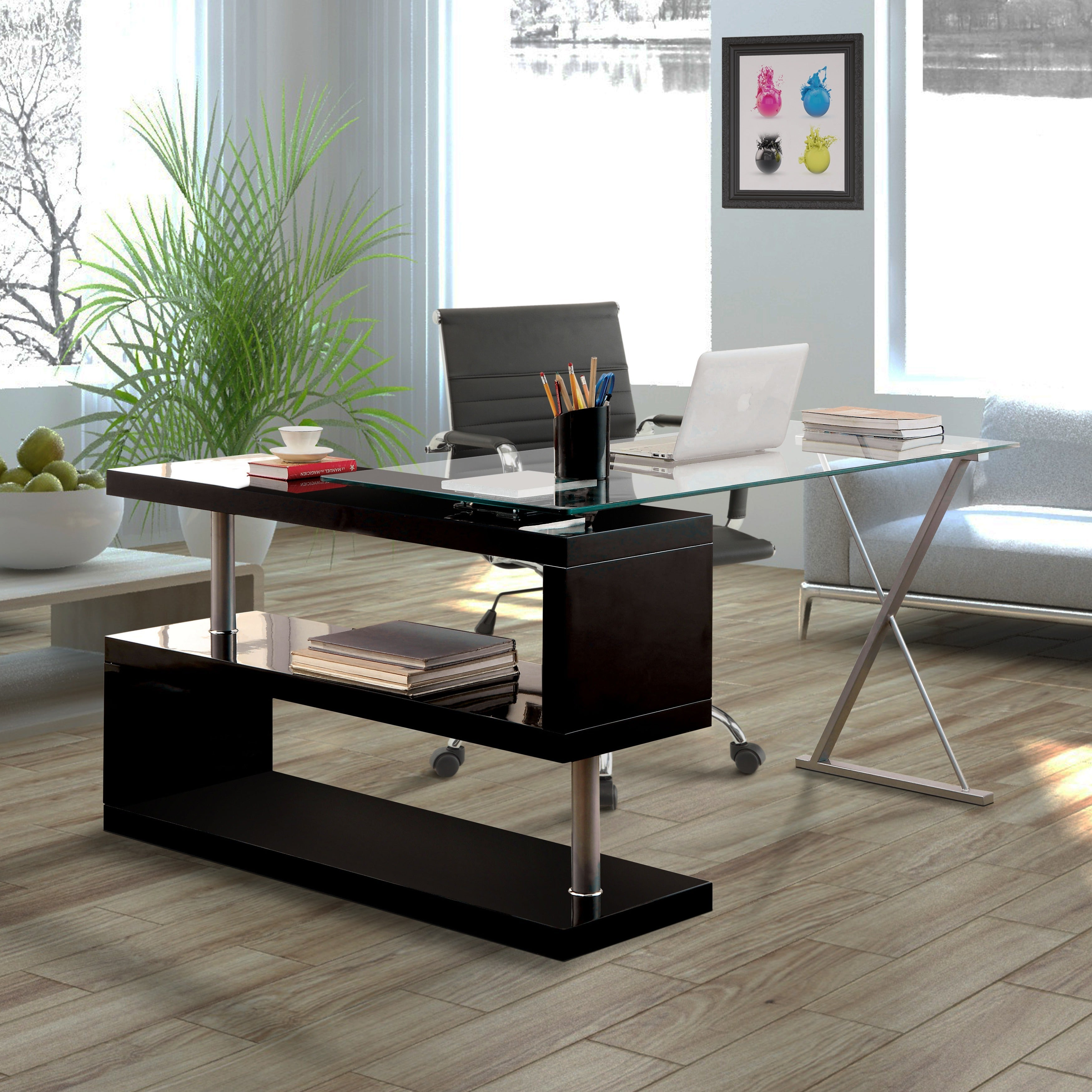 glass home office desk. Furniture Of America Marisa Contemporary Convertible Executive Desk (3 Options Available) Glass Home Office