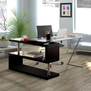 office desk glass. Furniture Of America Marisa Contemporary Convertible Executive Desk Office Glass A