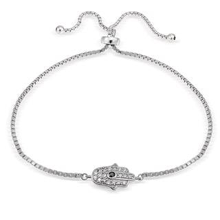 Icz Stonez Silver Cubic Zirconia Hamsa Hand Adjustable Bolo Bracelet