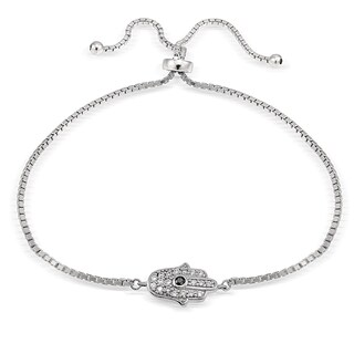 Icz Stonez Silver Cubic Zirconia Hamsa Hand Adjustable Slider Bracelet