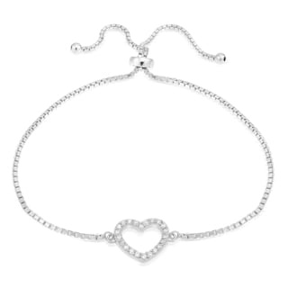 Icz Stonez Sterling Silver Cubic Zirconia Open Heart Adjustable Slider Bracelet