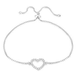 Icz Stonez Sterling Silver Cubic Zirconia Open Heart Adjustable Bolo Bracelet