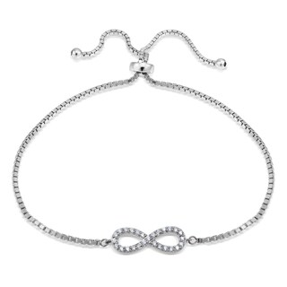 Icz Stonez Silver Cubic Zirconia Infinity Adjustable Slider Bracelet (3 options available)