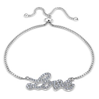 Icz Stonez Sterling Silver Cubic Zirconia 'Love' Adjustable Slider Bracelet