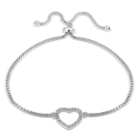 Icz Stonez Silver Cubic Zirconia Open Heart Adjustable Slider Bacelet