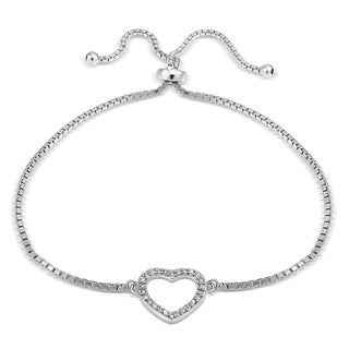 Icz Stonez Silver Cubic Zirconia Open Heart Adjustable Slider Bacelet