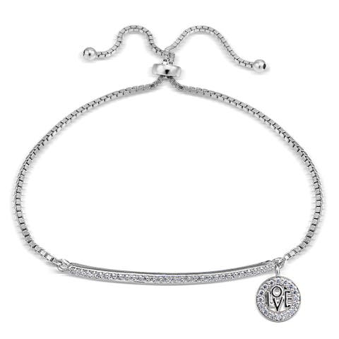 Icz Stonez Cubic Zirconia 'Love' Charm Bar Adjustable Slider Bracelet