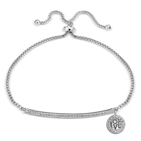 Icz Stonez Cubic Zirconia 'Love' Charm Bar Adjustable Slider Bracelet