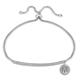 Icz Stonez Cubic Zirconia 'Love' Charm Bar Adjustable Bolo Bracelet