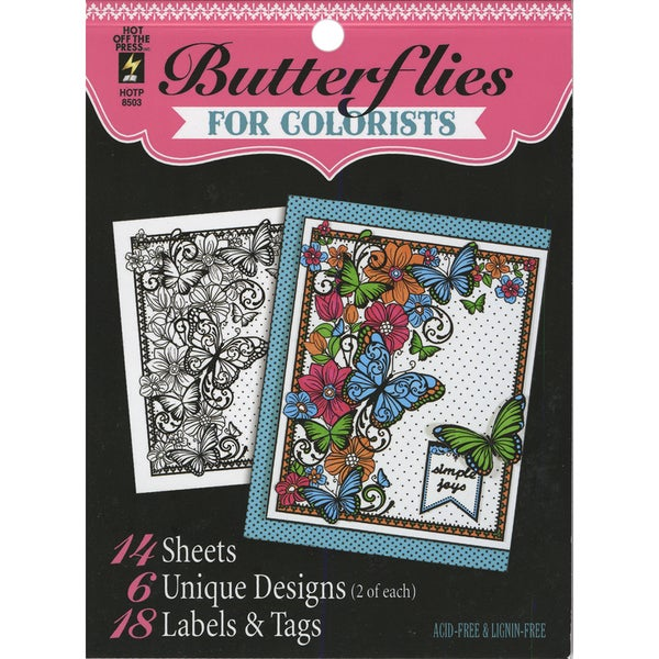 Hot Off The Press Colorist Coloring Book 5inX6in Butterflies
