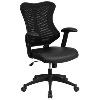 Joni Black Adjustable Swivel Office Chair With Leatherette Padded Seat