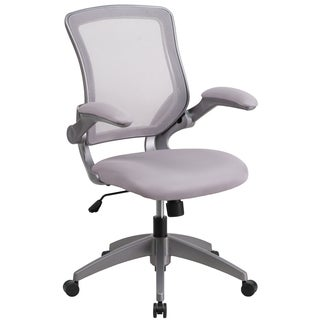 Kasi Grey Mesh Adjustable Swivel Office Chair With Flip Up Arms