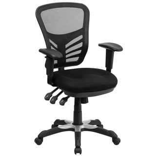Cole Black Mesh Adjustable Swivel Office Arm Chair with Triple Paddle Control