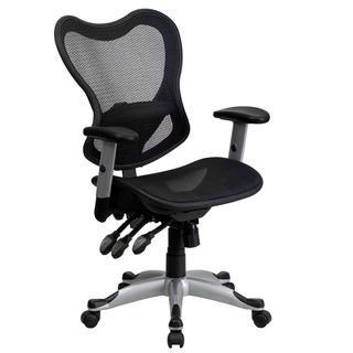 Royse Black Transparent Mesh Adjustable Swivel Office Arm Chair with Triple Paddle Control