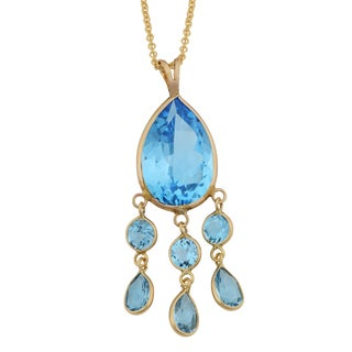 Fremada 14k Yellow Gold Blue Topaz Drop Necklace (18 inches)